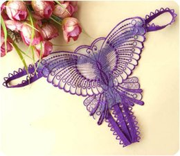 Wholesale Women New Sexy Brief Gauze Lace Transparent Underwear Panties Butterfly Print Sexy Panties Lingerie Thong B316