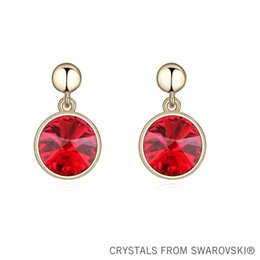 Wholesale 2015 New arrival KGP classic round crystal drop earrings Made with Crystals from Swarovski