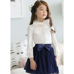 Wholesale 2015 Children New Arrival Fashion Spring Autumn Girls Suits Kids Cute Bow Tie T shirt with Mini Skirts Girls Sweet Sets