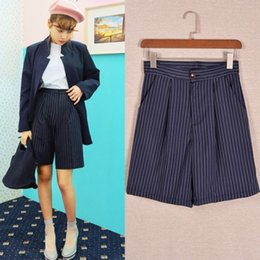 Wholesale 2015 Summer Style British Wind Wide Leg Pants Slim Thin Vertical Stripes Knee Length Suit Pants For Women Casual Shorts Colors