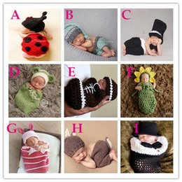 Wholesale Baby Infants Outfits Crochet Knit Animal Bunny Sun Flower Baby Photography Props Costumes Cartoon Caps Hats Set B