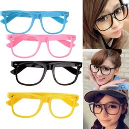 Wholesale 12pcs Trendy Retro Children Kids Unisex Clear Lens Wayfarer Nerd Geek Glasses Eyewear For Mens Women Rimmed Glasses Frame Free