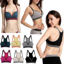 Wholesale Women Sexy Elastic Seamless Y Line Strap Sports Yoga Padded Bra Leisure Push Up Bra Underwear WNY141