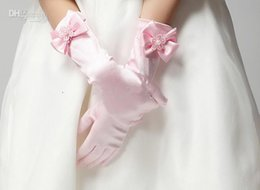 Wholesale Girls Bontique Wedding Dresses Golves Apparel Accessories Golves Bowknot Pearl Elbow Length Good Quality Gloves Pink White Beige