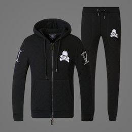 Wholesale new skulls philipp plein men s fleece pants suit PP trend and cotton suit