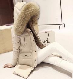 Wholesale women Down Parkas winter warm outerwear clothes women long design real natural Raccoon fur collar coat Hooded Duck Down jacket