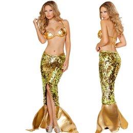 Wholesale Disfraces lentejuelas del oro de la sirena de Halloween Sexy Mujeres sirena Faldas y Bra Set Cosplay Disfraces Adultos New Arrivals