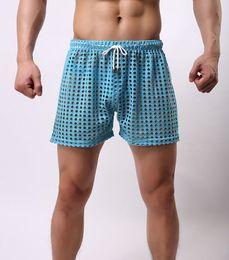 Wholesale Sexy Mens see through Holes net mesh gauze Sheer home causal beach board home shorts running sport gay man boardshorts