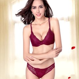 Wholesale New Women Bra Set Deep V Floral Lace Push Up Back Closure Underwire Underwear with Briefs Lingerie Ropa Interior Mujer G0931