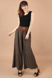 Wholesale 2015 summer style women pants Casual elastic waist Culottes Long Wide Leg Pants Palazzo Trousers pantalones