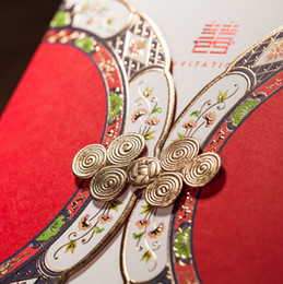 Wholesale Delicate Vintage Red Laser Cut Wedding Invitations cards Design Chinese Knot Bouquet Personalized Invitation