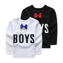 Hot Sale Children's Autumn outfit baby boy's cool style O-neck letter tee shirt,long-sleeved cotton Black & White Baby T-shirt 2-8T,5pc lot cheap baby boys preppy outfit from baby boys preppy outfit suppliers