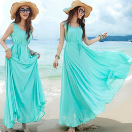 Wholesale Womens Boho Chiffon Summer Beach Solid Sundress Sleeveless Maxi Long Swing Dress