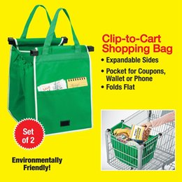 Wholesale 2in1 green Shopping Grocery Bag For Supermarket Trolleys Carrier Bag Shopping Bag Reusable Trolleys Folding Christmas Shopping Bag