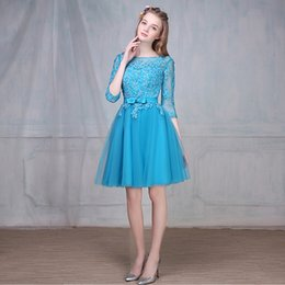 Wholesale Turquoise Color Short Prom Dress with Sleeves Beaded Applique Tulle Teens Party Dress Homecoming Customized Size