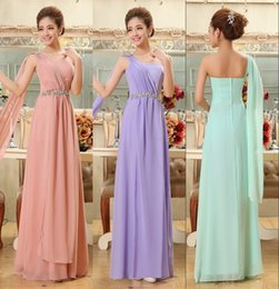 Wholesale 2015 Party Dress Cheap Under Bridesmaid Dresses Crystal Prom Formal Sexy Coral Sage Purple Chiffon Long Special Occasion Evening Gowns
