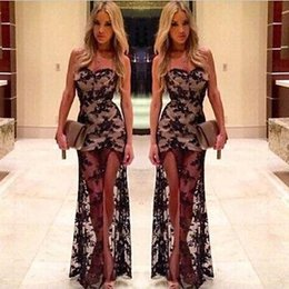 Wholesale 2015 Black Lace Evening Spice Sheer Mesh sleeveless Mermaid Prom gowns Dress