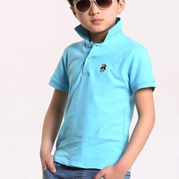 Wholesale Kids Girls Boys Polo Shirts Solid Colours Shorts Sleeves camisa polo Summer infantil Children pique Thick cotton Golf Shirt