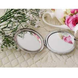 Wholesale Stainless Hand painted Blue and White Ceramic Pocket Folding Makeup Mirror Portable Cosmetic Magnifying Mirror W758