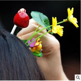 Wholesale Novelty Simulation Plants Lucky Grass Flower Hair Clips Headwear Samll Bud Antenna HairPin Bean Sprout Mushroom barrette Christmas gifts