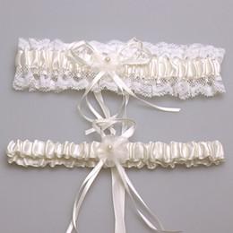 Wholesale 2pcs set Bridal accessory satin lace ivory pink blue Burgundy garter silk ribbon floral pearl wedding decoration garter