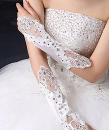 Wholesale White Ivory Lace Wedding Brides Satin Rhinestone Crystal Long Gloves
