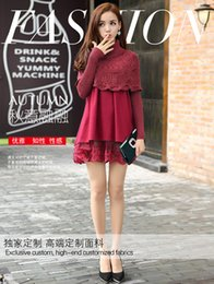 Wholesale Maternity han edition of new fund of autumn winters and two pieces of lace splicing cloth pregnant women dress12