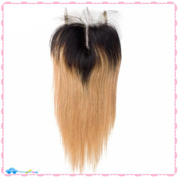 2017 ombre two tone color virgin hair 9A Two Tone Color 1B 27 Honey Blonde Dark Roots Ombre Straight Virgin Brazilian Human Hair Lace Top Closures Piece 4X4'' Middle Part ombre two tone color virgin hair for sale