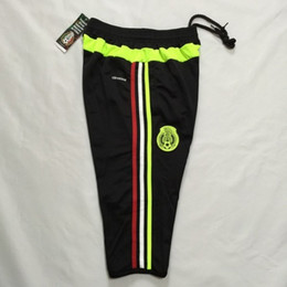 New Fashion 3/4 Pants 2015-16 Mexico Training Pants With Pocket Black Size M L XL Mix Order Stitched High Quality