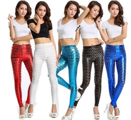 Wholesale Punk Metal Holes Fish Scale Pattern Bright Skin Slim Solid Color Leggings Women High Waist Bodycon Skinny Leggings Pencil Pants NW41