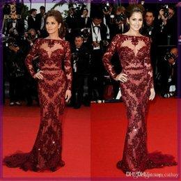 Wholesale 2014 Cheryl Cole Zuhair Murad Evening Dresses Cannes Red Carpet Sexy Burgundy Lace Bateau Long Sleeve Sheath V Back Sash Celebrity Gowns LX