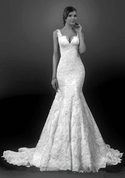Wholesale 2015 Swan Cap Sleeve V Neck Mermaid Wedding Dresses Lace Open Back Autumn Chapel Train Bridal Gowns BS2376