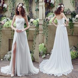 Livraison gratuite Robes de mariée en mousseline de soie une ligne sweetheart cuisse-haute Slita dentelle de retour avec des cristaux perles Summer Beach robe de mariée CPS238