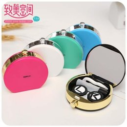 Wholesale Candy Contact Lens Case with Mirror Fashion Contact Lens Mate Boxes Contact Lens Accessories
