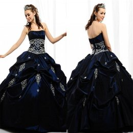 Wholesale 2015 Navy Blue Stain Quinceanera Dresses Strapless Draped Cascading Ruffles Appliqued Crystal Ball Gowns Stunning Teens Pageant DressMG03