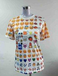 Wholesale Harajuku New Women Clothing Funny Cartoon Emoji Print D T Shirt Punk O neck Short Sleeve Tee Shirts
