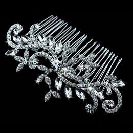 Wholesale Diamond jewelry Leaf Crystal Imitation Rhinestone Bridal Tiaras Hair Combs Hairpin Wedding Hair Accessories Hair Jewelry