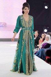 Wholesale 2016 Vintage Green Arabic Kaftan Evening Dresses Long Sleeves Lace Applique Chiffon Abaya Dubai prom dress vestidos de festa