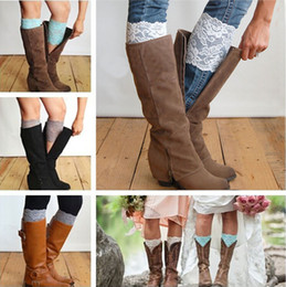 Wholesale New Stretch Lace Boot Cuffs Colors High Quality Women Flower Leg Warmers Lace Trim Toppers Socks