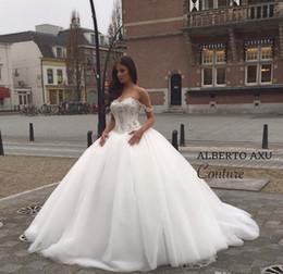 2016 Bodice Robes de mariée en cristal Princesse Robes de mariée robe de bal avec des perles Sweetheart Neck Lace Up Retour Oragnza Robes blanches d'image réel