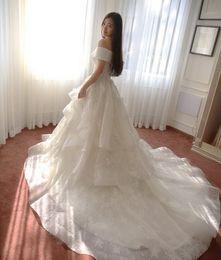 Wholesale 2015 Wedding Dresses Off Shoulder Tiered Appliques Luxury Lace Wedding Dresses Boho Wedding Gowns Zipper Chapel Train Ruffles Bridal Gowns