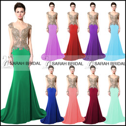 Wholesale Sexy Mermaid Prom Party Dresses Beads Sheer Neck Scoop Gold Embroidery Royal Blue Red Formal Occasion Evening Gowns Custom Real Image