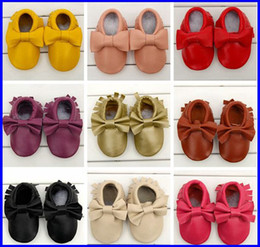 Wholesale Fedex Head cowhide Toddler Baby Bow Moccasins Infant Baby Shoes First Walker Newborn Baby Girl Boy Shoes Chaussure Bebe Sapatos Moccs