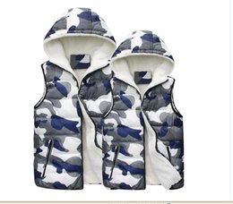 Wholesale Brand New Winter Personality Men Women Lover s Cotton Vests Camouflage Hooded Wool Stylish Waistcoats Warm Thickened Gilets