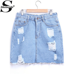 Discount Ripped Denim Skirt | 2017 Ripped Denim Jeans Skirt on ...