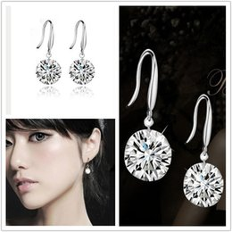 Wholesale Unique Shinning Crystal Bridal Jewelry High Quality Silver Wedding Eardrop Prom Party Event Earbob Evenning Accessories Fashion Earrings