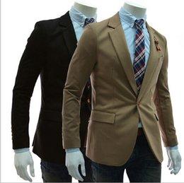 Wholesale 2014 Autumn New Men Blazer Slim Fit Suits One Button For Men Fashion Style Top Design Suit Retail Dropshiping