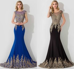 Wholesale 2016 Royal Blue Plus Size Special Occasion Dresses Cheap Sheer Crew Neck Elegant Appliques Mermaid Prom Evening Gowns