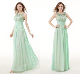 Wholesale 2015 Mint Green Long Beads Bridesmaid Dress Crew Capped Vestidos De Feista Cheap Long Prom Gowns Chiffon Beading Junior Maid Of honor WXC
