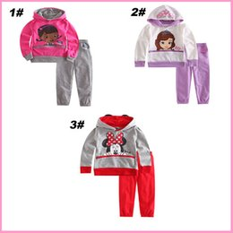 Wholesale Baby Girls Autumn Clothes Sofia Princess Minnie mouse doc mcstuffins Terry Hooded Coat Jacket Long Pants Cartoon Suits Kids Outfits Sets